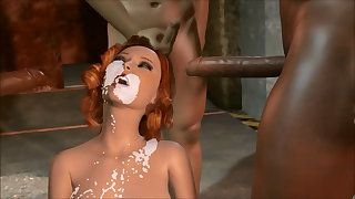 3D Brute fucking and sewer interracial gangbang