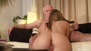 Teen blonde babe seduces an old guy and sucks his obese learn of