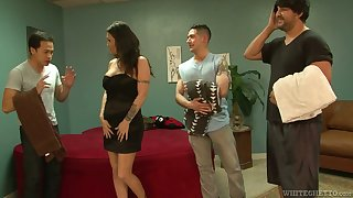 Slut Kianna Bradley serves three hot tempered dudes at the same life-span