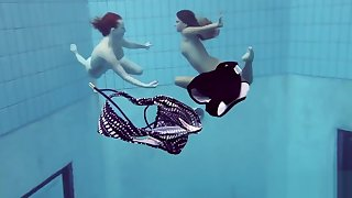 Katrin and Lucy beamy pair underwater