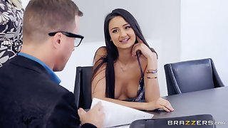 Latina babe Eliza Ibarra blows her boss at the office and swallows cum