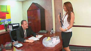Brass hats enjoys shafting deep throat and wet pussy be expeditious for smoking hot secretary Miley Ann