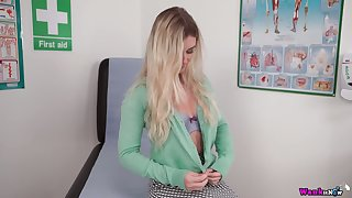 Juggy blond patient Sophie K gets naked added to shows off her juicy snatch added to scrumptious boobies