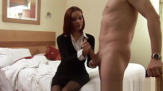 CFNM babe teases mans balls not later than handjob