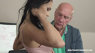 Horny old professor of economics fucks his sexy pupil