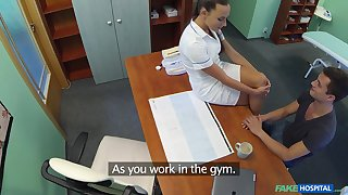 Doctors young gentleman bangs crazy hot nurse Mea Melone on the office trustees