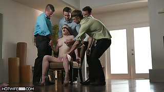 Dirty wife Kate Kennedy fucked by her husband's friends on the floor