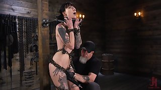 Locked roughly stocks real BDSM whore Charlotte Sartre deserves hard masturbation