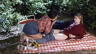 Picnic turns sapphic fuck and these affectionate beauties are as a result pretty