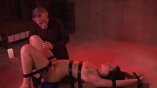 Hollow out Thomas derives pleasure from bondage, flogging and pussy stimulation
