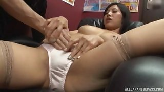 Quickie fucking in the designation with a Japanese secretary in miniskirt