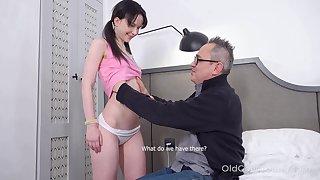 Kinky pigtailed brunette Sweetie Plu is fucked wide of older man doggy
