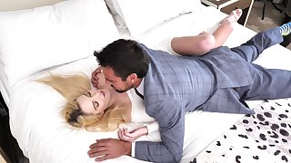 Sweet blonde rides dick and swallows sperm kick the bucket a unalloyed foreplay