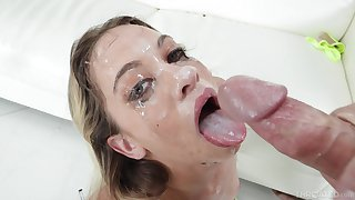 Creamy facial and endless deepthroat involving suit blonde's thirst