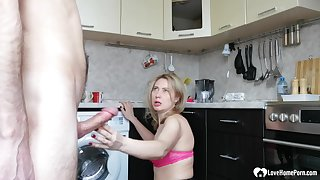Blond stepmom more stockings takes a hard humping