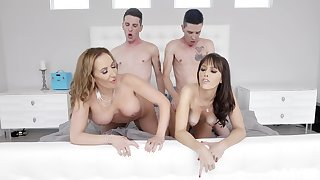 Naked MILFs swap partners in the dirtiest foursome they shared