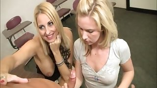 Dallas Ericka and another dame use oil to issue a transparent handjob