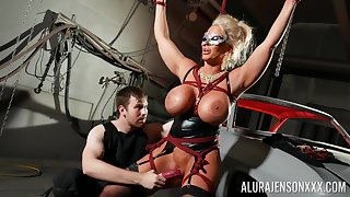 Confine cock slut Alura Jenson is toyed with unconnected with a stranger in a dungeon
