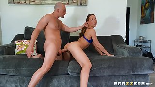 Dazzling pain in the neck pornstar Aidra Fox sucks a dick in POV coupled with gets fucked