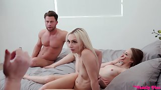 Step-siblings get caught having an FFM threesome surrounding the meeting-hall