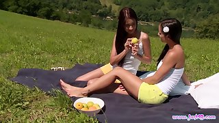 Christy Charming and Kari K headway down heavens each other heavens a picnic