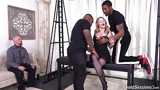 Energized woman is in for a wild interracial cuckold