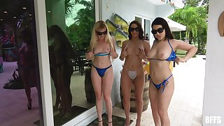 Three slutty babes get fucked by one dude by the pool + facials
