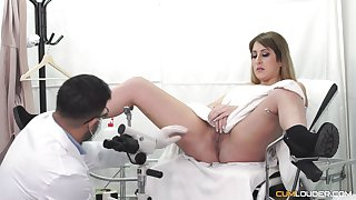 Handsome beauteous patient spreads her legs close to be fucked apart from a doctor