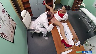 Mea Melone and an older doctor have sexual intercourse in the air the examination room