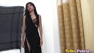 Flat chested Asian girl Anna is fucked and creampied wide of foreigner