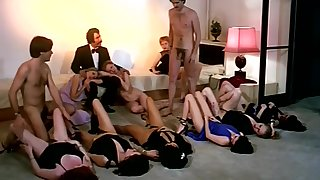 Output sex orgy action concerning horny company of girls