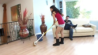 Teen brunette cleans around the house and gets the dick up play with reference to