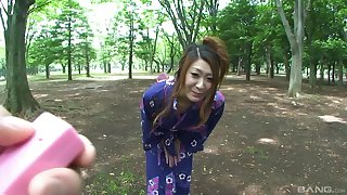 Japanese unsubtle spreads her legs to be fucked on along to bed. HD video